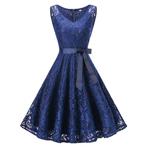 Amphia Damen Spitzen Rockabilly Kleid Festlich Partykleid Cocktailkleid Brautjungfern Kleid Rundhals/V Ausschnitt Ärmellos (Blau, L) -