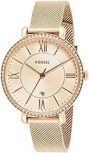 Fossil Women's Jacqueline Stainless Steel Dress Quartz Watch One Size Rose Gold Glitz