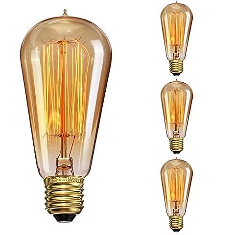 Elfeland Edison Lampe Vintage, E27 Ampoules à incandescence Rétro Antique Lampe Dimmable 40W 2200K Idéal pour Salon, Café ou Lustres, Pafonds, Murs - 3 Vente