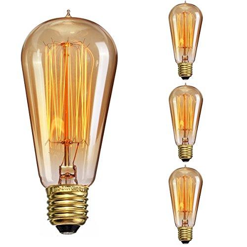 Elfeland Edison lampadina/Industrial Vintage Retro Stile/E27 40 W spirale filamento/per soffitto lampada da parete lampada a sospensione/F 95 mm dimmerabile 3 pezzi …