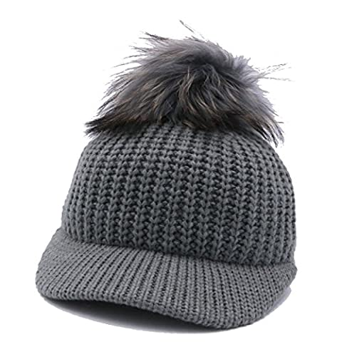 Automne Et Hiver Unisexe Knitting Warm Baseball Cap Slouch Stretch Outdoor Wind Proof Hat Taille Unique Réglable,Grey-OneSize