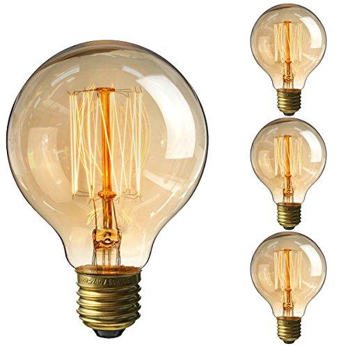 Elfeland Edison Lampadina 40W, Vintage Retro Style Lampadine a incandescenza, luce filamento della lampadina a vite E27 G80 3pcs