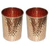 Vaso 8.5 oz taza de viaje de cobre para el agua ayurveda salud beneficio de la salud, martillado diseño- conjunto de 2