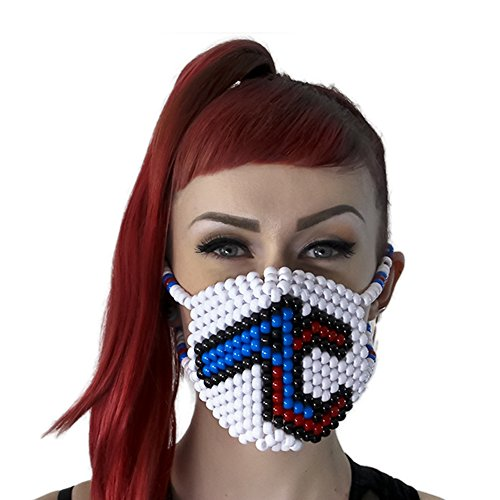Adventure Club Kandi Mask Surgical by Kandi Gear, rave mask, halloween mask, beaded mask, bead mask for music fesivals and - Halloween Penguin Club