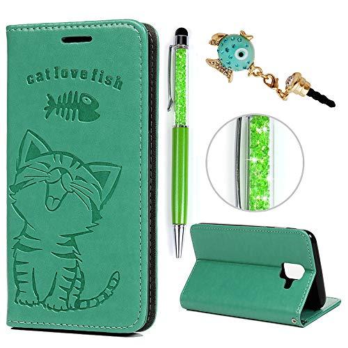 iAdvantec A6 2018 Hülle Case, Filp PU Leder Wallet Handyhülle Flipcase : Bookstyle Katze und Fisch Tasche Brieftasche Schutzhülle für Samsung Galaxy A6 2018 in Minzgrün + Stöpsel + Stylus