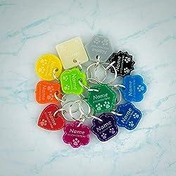 Pendentifs pour Colliers de Chien Chat Acrylique Tag Disque Animaux Accessoires Collier Étiquette d'identification Médaille Gravure Personnalisé Porte-adresse pour Chiens Chats | 12 Couleurs | 8 Formes | 3 Tailles ❤