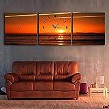 Salon Moderne Salle à Manger Décoration Peinture Peinture Muette Montre Toile Peinture Triple Horloge Murale Couleur Ciel Pleine de Cadres Contient des Cadres, des Horloges Et des Peintures, Ibuprof