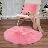Kisse in finta pelle di pecora Round area Rug Silky Shag Fluffy Carpet Rugs Floor area Rugs Girls decorativo per soggiorno camera da letto, Pink, Round 60cm