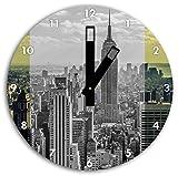 New Yorker Skyline mit Empire State Building schwarz/weiß , Wanduhr Durchmesser 30cm mit schwarzen eckigen Zeigern und Ziffernblatt, Dekoartikel, Designuhr, Aluverbund sehr schön für Wohnzimmer, Kinderzimmer, Arbeitszimmer