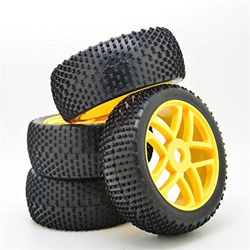 4pcs-rc-1-8-off-road-car-buggy-replacement-rubber-tyre-tires-yellow-wheel-rim-5-spokes-tires-for-rc-