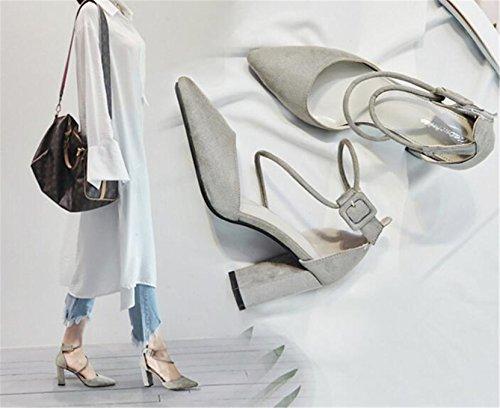Com Sandálias Shunliu Escritórios Elegantes Nobuk Dedo Cinta Apontado Top Sapatos Cinza Salto Atravessar De Bloquear Sapatos Senhoras Tornozelo 4aqHH