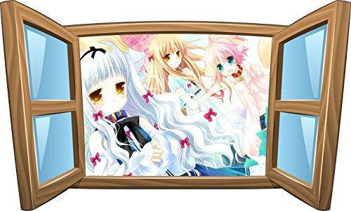 Stickersnews - Sticker enfant fenêtre manga réf 1035 Dimensions - 39x23cm