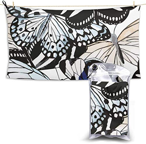 congminbai Strandtücher Schmetterlinge Schnelltrocknendes Handtuch Decke Sandfreie Handtücher Saugfähiges Badetuch Travel Spa Swim