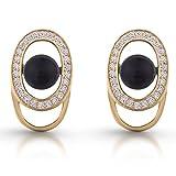 Premium-Ohrringe mit Swarovski Black Pearls 18ct Gelber Gold über Sterling Silber Geschenk für Frauen und Mädchen Gift Box Geburtstag, Weihnachten, Geburtstag, Muttertag