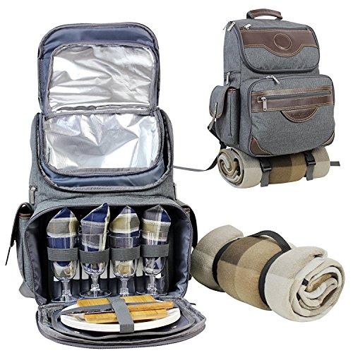 INNO STAGE Premium DeLuxe 4 Personen Picknick Rucksack mit Kühlfach, Flasche mit doppeltem Verwendungszweck/Wein Halter, Fleecedecke, Teller und MEHRWEG