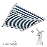 Nemaxx FCA50X Vollkassettenmarkise mit Licht- und Windsensor 5m x 3m blau-weiß: Kassettenmarkise für optimale Beschattung aus UV-beständigem und wetterfestem Acryltuch - Markise in weißer Kassette - nach DIN EN 13561
