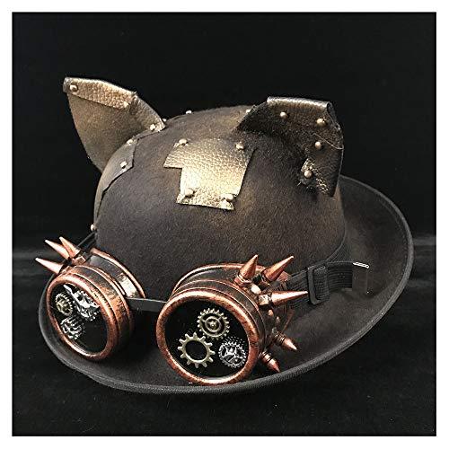Wenquan-caps, 2019 Neue Hüte 9 Stil Retro Lolita Damen Herren Steampunk Dome Hut Brille Zylinder Fedora Kopfschmuck Bräutigam Hut (Farbe : Black JD, Größe : 57-58 (Schwarz Und Pink Mini Fedora Hut)