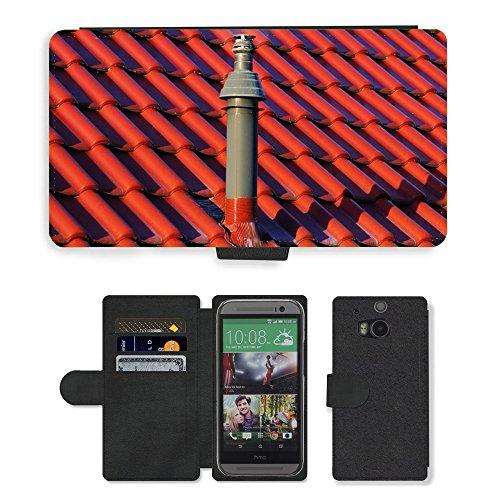 PU Billetera de Cuero Caso Titular de la tarjeta Carcasa Funda para // M00154517 Inizio del camino del tetto Gas // HTC One M8 - 1 M Camino