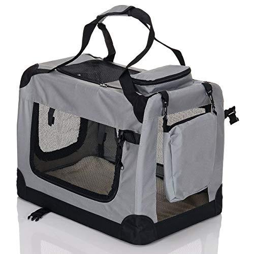 faltbare Hundebox Haustier Transportbox klappbare Autobox 60x42x44 cm gepolstert Katzen Henkel Tragetasche Grau - 2