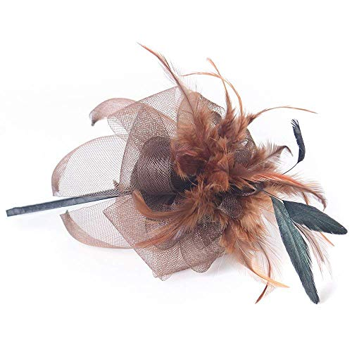 ator Headwear Frauen Hüte Feder Cocktail Party Hüte Braut Kentucky Derby Headband Geschenk Hochzeit Party,Brown ()