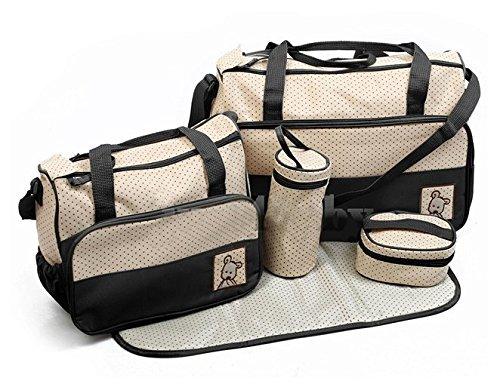 ANKKO Set 5 multifunktionale Baby Windel Nappy Bag Mami Reise Taschen schwarz