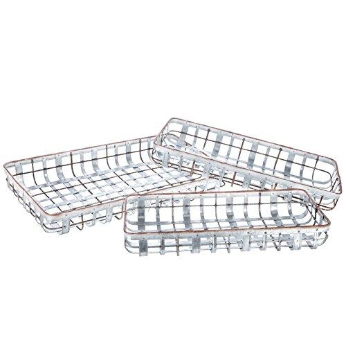 Generic Metallgitter-Tablett, verzinkt, 3 dekorative Boxen, Tabletts und Aufbewahrung, Landhaus-Dekor 22 Inch 22 In Trays