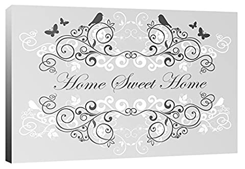 Home Sweet Home - Grey - Scrolls with Birds, Flowers & Butterflies, Quote Family Words - Canvas Wall Art Print Picture - Framed and Ready to Hang - Please Choose Your Colour & Size from the Selection Boxes - Designed by Rubybloom Designs