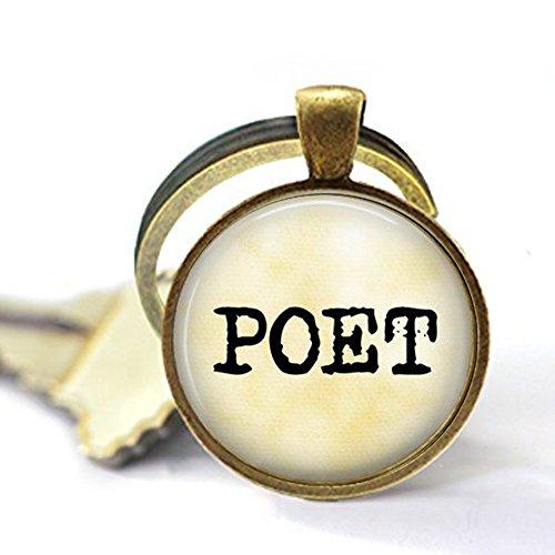 nijiahx Poet Schlüsselanhänger - Poesie Schmuck - Geschenk für Dichter - Geschenk für Schriftsteller - Literatur Schlüsselanhänger - Buch Geschenk - Schreiben - Wörter Charm