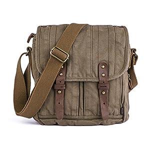 51mXXoScW7L. SS300  - Gootium 30829KA - Bolso Mensajero De Cuero, Maletín de estilo Vintage, Bolso Para Laptop de 14 Pulgadas, Caqui
