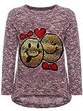 BEZLIT Mädchen Kinder Pullover Wende Pailletten Sweatshirt Meliert 22856 Bordeaux Größe 104 Vergleich