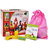 Adichai 60 Pcs Wooden Digital Blocks With Attractive Colour Puzzle Learning Game For Kids (Multicolor) - Wooden Educational Toy For Kids