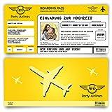 Einladungskarten zur Hochzeit (50 Stück) Flugticket mit Foto Einladung in Gelb