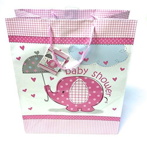 Baby Dusche Geschenk Tasche für Mum niedlich sein groß Wrap giftbag Junge oder Mädchen rosa pink pink (Große Baby-dusche-geschenk-taschen)