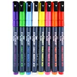 Stationery Island Chalk Pens W30 3mm Fine Bullet Nib - Wet Wipe Erase Chalk Markers Pack of 8 Colours