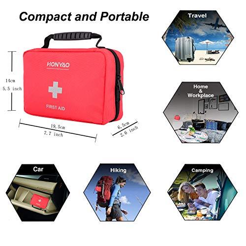 51mXZPyGHdL - HONYAO Botiquín de Primeros Auxilios, Bolsa Médica de Emergencia - Kit de Supervivencia para el Hogar, Automóvil, Campamento, Oficina, para Viaje y Deportes Al Aire Libre