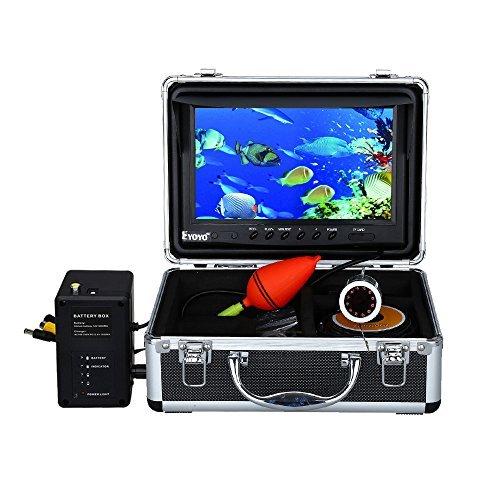 Eyoyo Fischfinder Tragbar 9 Zoll Fischsucher LCD Monitor Fisch Finder HD 1000TVL Unterwasser Fischen Kamera Wasserdicht DVR Video Cam 30m Kabel 12Stck IR Infrarot LED Für Eis, See und Boot Fischen