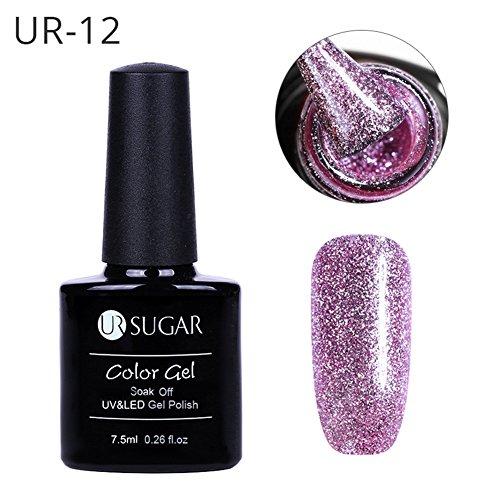 CoulorButtons 7.5ml Ur Sugar Platinum gel soak off UV super lusso con lustrini per unghie, gel UV smalto arte Ur12