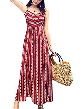 Donna Vestito Lungo a Righe Collare del Halter Senza Maniche Boho Abito da  Maxi 5223536cbb9