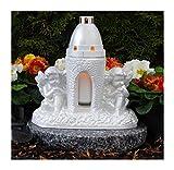 Tomba lampada da angelo massiccio 22,0cm incl.LED della Tomba luce bianco ♥ Benedice Grab lampada Cuore Griglia Gabbione Cimitero Angelo Tomba Cuore