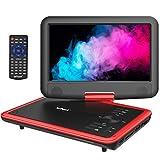 """ieGeek 11.5"""" Reproductor de DVD portátil con Pantalla giratoria DE 9.5"""", Batería Recargable de 5 Horas, Soporte USB/Tarjeta SD, Reproducción Directa de AVI/RMVB/MP3/JPEG, Rojo"""