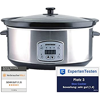 Syntrox Germany 6,5 Liter Digitaler Edelstahl Slow Cooker mit Timer und Warmhaltefunktion