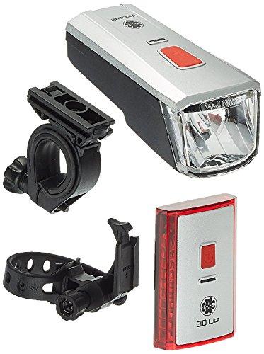 Büchel Batterieleuchtenset LED-AKKU Set-Leuchtturm Pro 40 Lux StVZO Zugelassen für alle Räder, Silber/Schwarz, 51125700 - 2