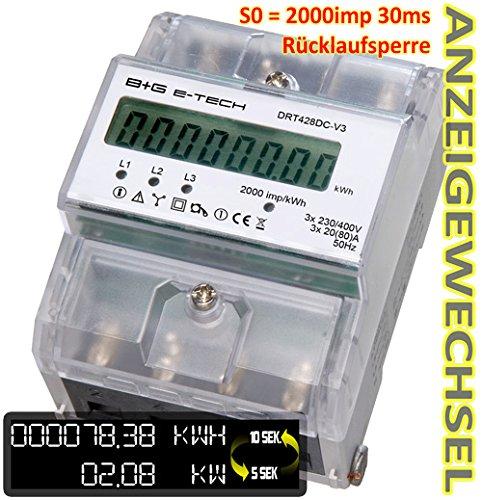 B+G E-Tech DRT428DC-V3 - digitaler Stromzähler Drehstromzähler für DIN Hutschiene mit S0 2000 Imp/kWh bei 30ms und Rücklaufsperre