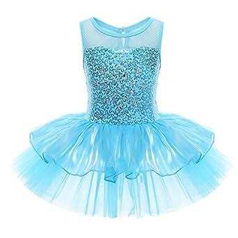 YiZYiF Mädchen Ballettanzug Ballettkleid Ballett Trikot Turnanzug Mädchen Kleider Pailletten 98 104 110 116 122 128 140 (92-98, Blau)