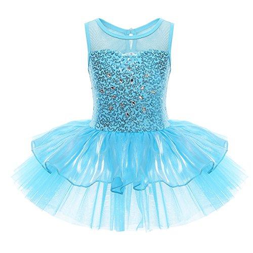(iEFiEL Mädchen Kleid Ballettkleid Kinder Ballett Trikot Ballettanzug mit Tütü Röckchen Pailletten Kleid in Weiß Rosa Türkis (110-116, Blau))
