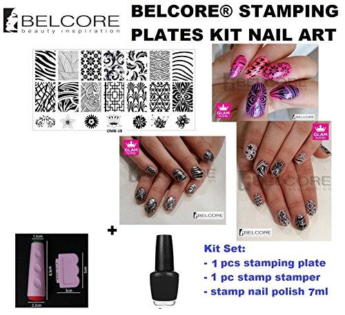 BELCORE® professionnels Stencil & Stamp Stamper et Scraper + polonais Stamp Nail pour Accessoires de manucure Nail Kit Plaques polonais Art Stamping