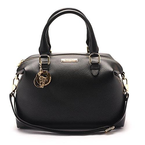 Versace-Collections-Women-Pebbled-Leather-Top-Handle-Shoulder-Handbag-Satchel-Black