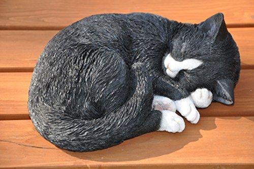 nanook Gartenfigur Tiere - handbemalt, wetterfest, Material: Kunststein (Polyresin) - Figur Katze liegend