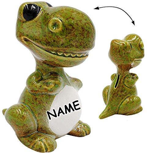 alles-meine GmbH große XL Spardose -  Dinosaurier - grün / braun  - inkl. Name - Stabile Sparbüchse - aus Porzellan / Keramik - Sparschwein - Dino - T-Rex / Stegosaurus Tric..