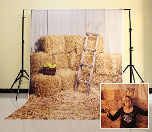 NIVIUS PHOTO® 150*220CM Haystack Rock und Holz-Stall Fotografie Newborn Kulisse Hintergrund neugeborene Tapete Boden D-6160 (Geburtstag Kulissen Ideen)